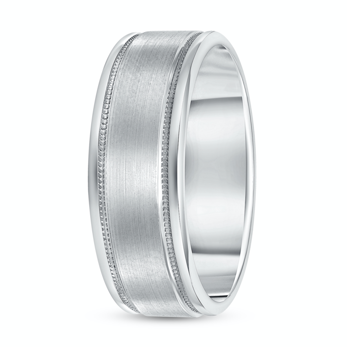 Men's Brushed Wedding Band with Trim