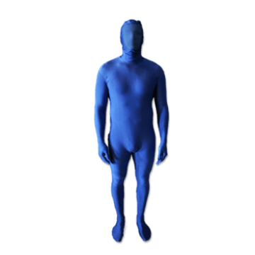 chroma key blue screen suit with removable hood