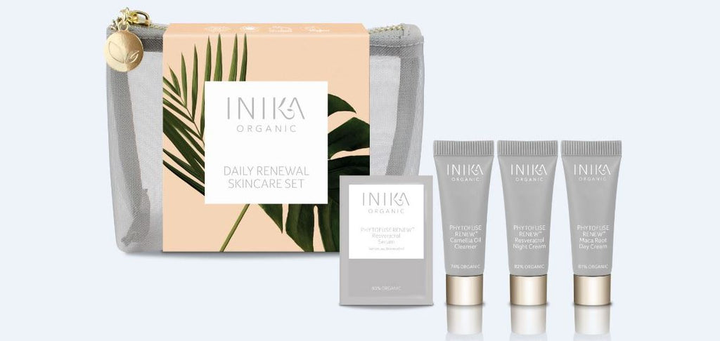 Receive a FREE Trial Size Daily Renewal Skincare Set with your purchase of 2 full size INIKA products.