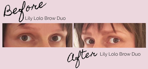 Before and After Using Lily Lolo Eyebrow Duo