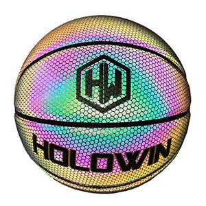 HOLOWIN Reflective Glowing Holographic Luminous Basket Ball for Night Game, Perfect HoloHoops Gifts Toys (Black, Size 7 (29.5 in)) - ItsASportsVibe