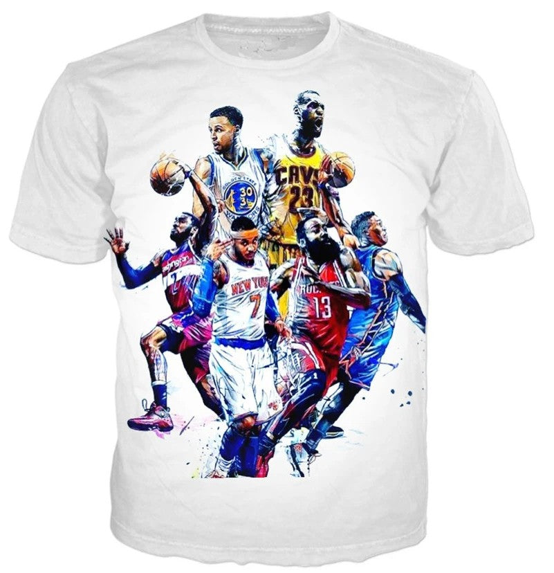 All-Star Stephen Curry/James/Harden/Westbrook 3D Print T-shirt