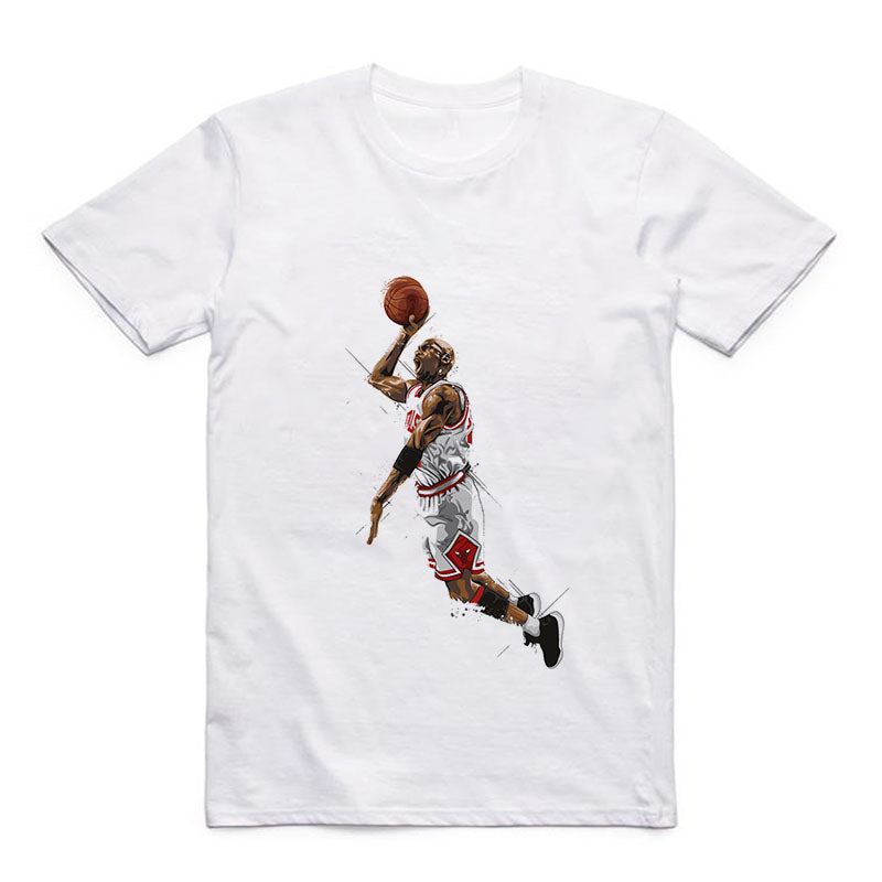 Summer T Pattern Printed by Jordan/Superman/Kobe Bryant/Nash/Garnett White Round Neck Modal T-shirt