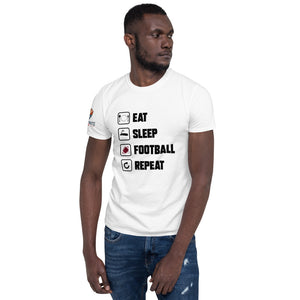 Short-Sleeve Eat Sleep Football Repeat T-Shirt - ItsASportsVibe