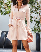 Load image into Gallery viewer, Zip Up Collar Jacket Dress - Blush