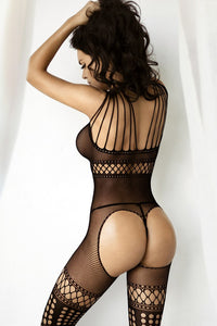 Strappy Circle Cut-Out Bodystocking w/ Garter Tights