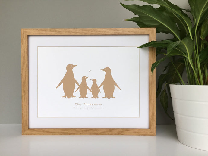 Penguin personalised family print
