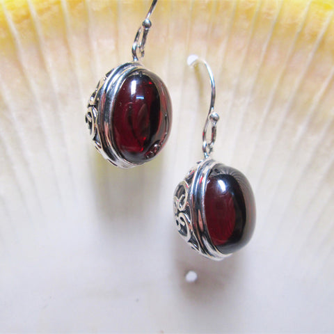 GQTORCH 925 Sterling Silver Drop Earrings For Women Vintage Hollow Flowers Design With Natural Garnet Ruby Opal Agate Stone