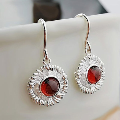 925 Sterling Silver Ethnic Dangle Earrings Natural Garnet Flowers Earrings For Women Ladies Fine Jewellery Pendientes Mujer