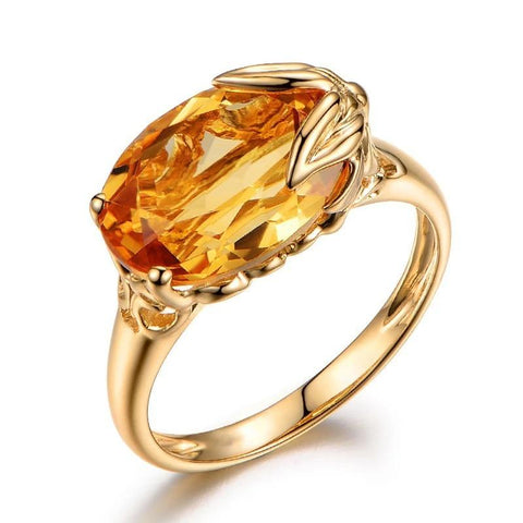 Oval Cut Citrine Gem Ring - POWERFUL HEALING ABILITIES