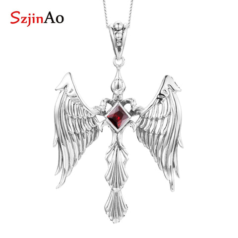 SzjinAo Luxury Elegant Eagle Solid 925 Sterling Silver Garnet Pendant January Birthstone Fine Jewelry Women Accessories Gemstone