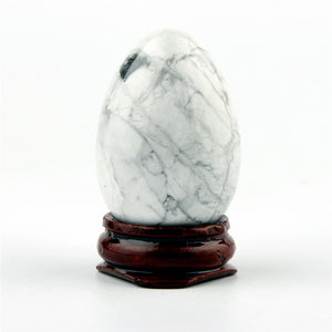 Howlite Egg With Wood Stand - CALM AN OVERACTIVE MIND