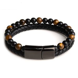 Gold Tiger's Eye Dual Leather Bracelet - Stainless Steel Magnetic Clasp - MOTIVATION & WILLPOWER
