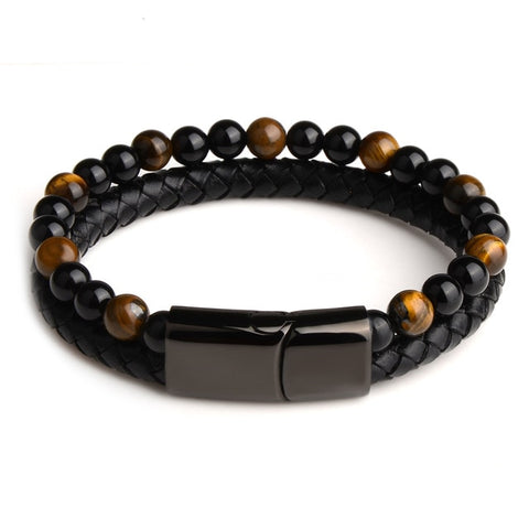 Tiger's Eye Dual Leather Bracelet -  Stainless Steel Magnetic Clasp - FLYING WITHOUT FEAR