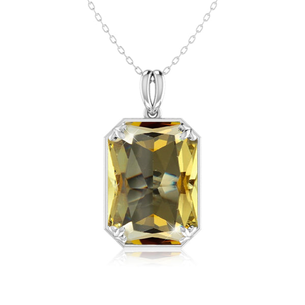 Large Citrine Gemstone Necklace - Silver 925 Chain - POWERFUL