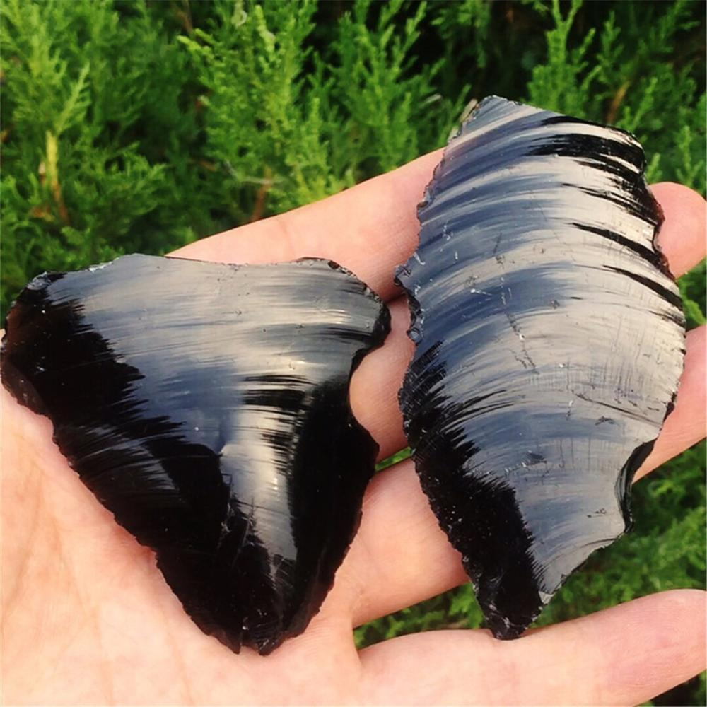 Free delivery 2 piece natural obsidian rough rough/raw stone crystal surface very shiny beautiful Christmas gift