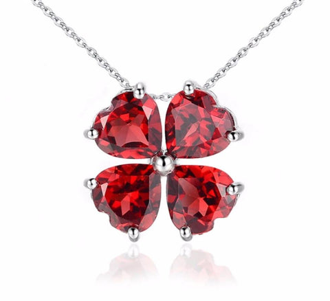 Lucky Four Leaf Clover Red Garnet Necklace -Sterling Silver -