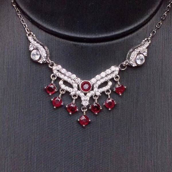Elegant Ruby Necklace - 925 Silver Chain - BOOSTS DESIRE AND FIERY PASSION