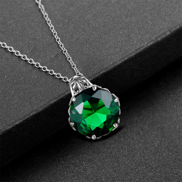 Emerald Gemstone Pendant - Sterling Silver Chain - STONE OF LOYALTY