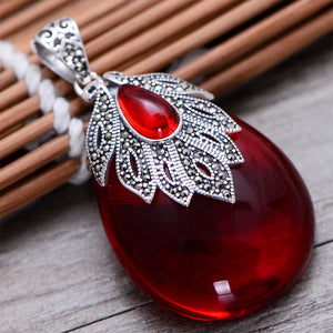 MetJakt Vintage Natural Garnet Pendant with Zircon 925 Sterling Silver Pendant for Sweater Chain for Women's Fine Jewelry