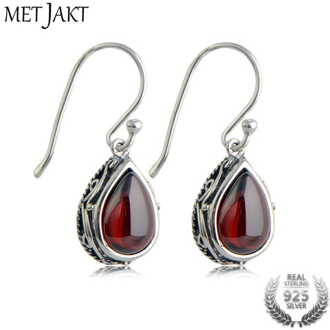 MetJakt Vintage 925 Sterling Silver Garnet Drop Earring & Green Natural Agate for Women Wedding Party Luxury Thai Silver Jewelry