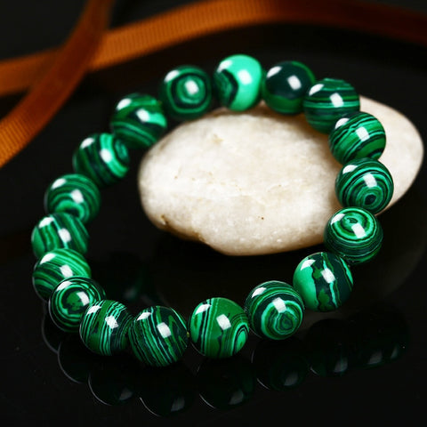 Green Malachite Wristband - Men and Women - SAFE STONE FOR FLYING