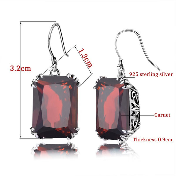 Szjinao Vintage Square Flower Earrings Real 100% Sterling Silver High Quality Garnet Fine Jewelry for Women Best Gift Wholesale