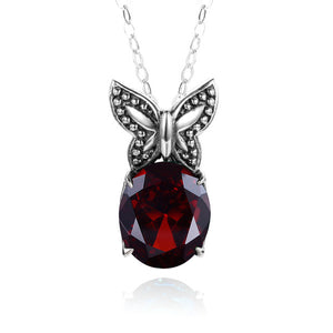 Garnet Gem Pendant -  Silver Butterfly Charm - ENSURE FIDELITY AND DEVOTION