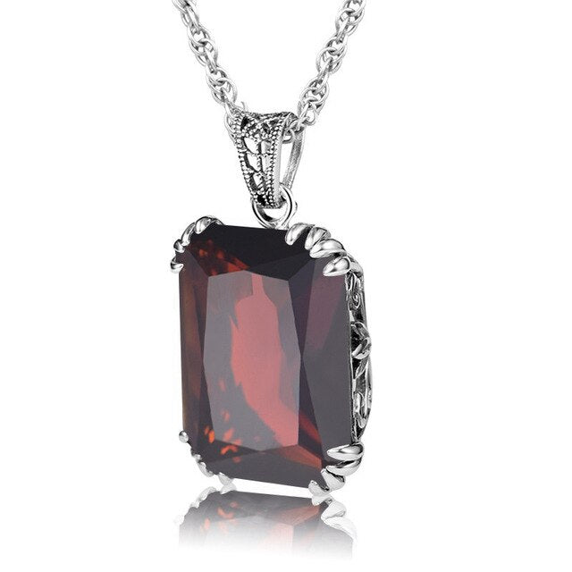 Szjinao Lxuxry European Women 925 Sterling Silver Vintage Pendants Square Stone Garnet Pendant Necklace Fine Jewelry Women Gifts