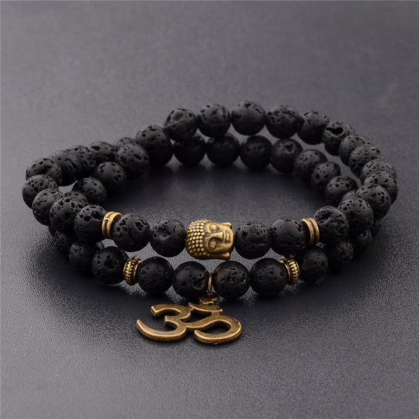 Lava Rock Buddhist Prayer Bracelets - CONTROLS ANGER FROM WITHIN
