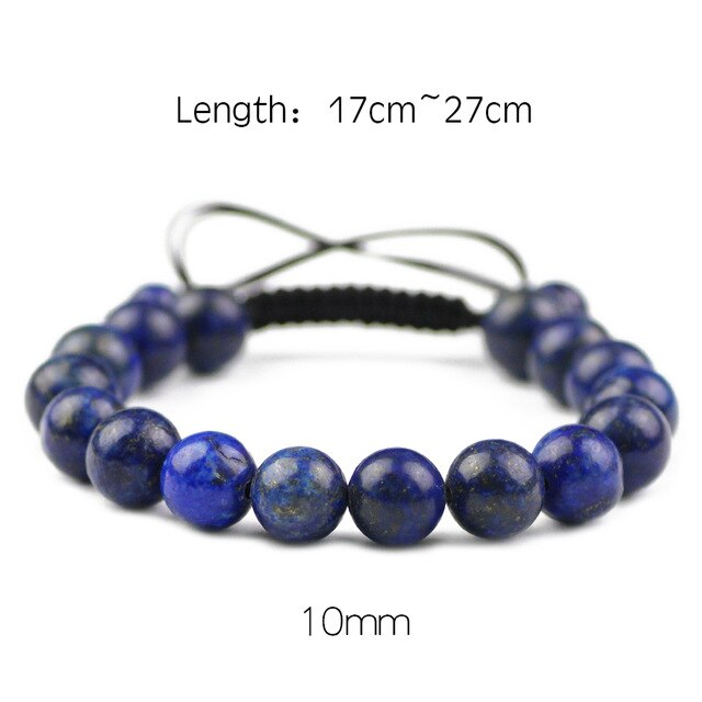 JHNBY Natural Lapis lazuli Stone Bracelet For Women 6/8/10/12MM Beads Braided/Elastic Rope Charm Bangle Fashion Men jewelry Gift