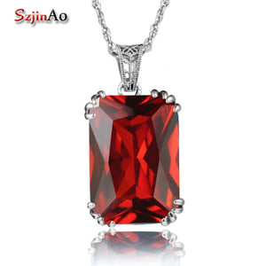 Szjinao Cute Genuine 100% 925 Sterling Silver Jewelry Ruby Pendants Jewelry Perfume & Women Decorative Necklace Wholesale