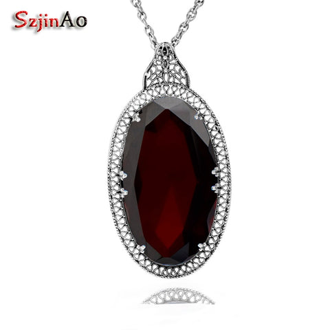 Szjinao Handmade Wedding Jewelry Big Garnet Personality Socialite Retro 925 Sterling Silver Garnet Pendants Wholesale