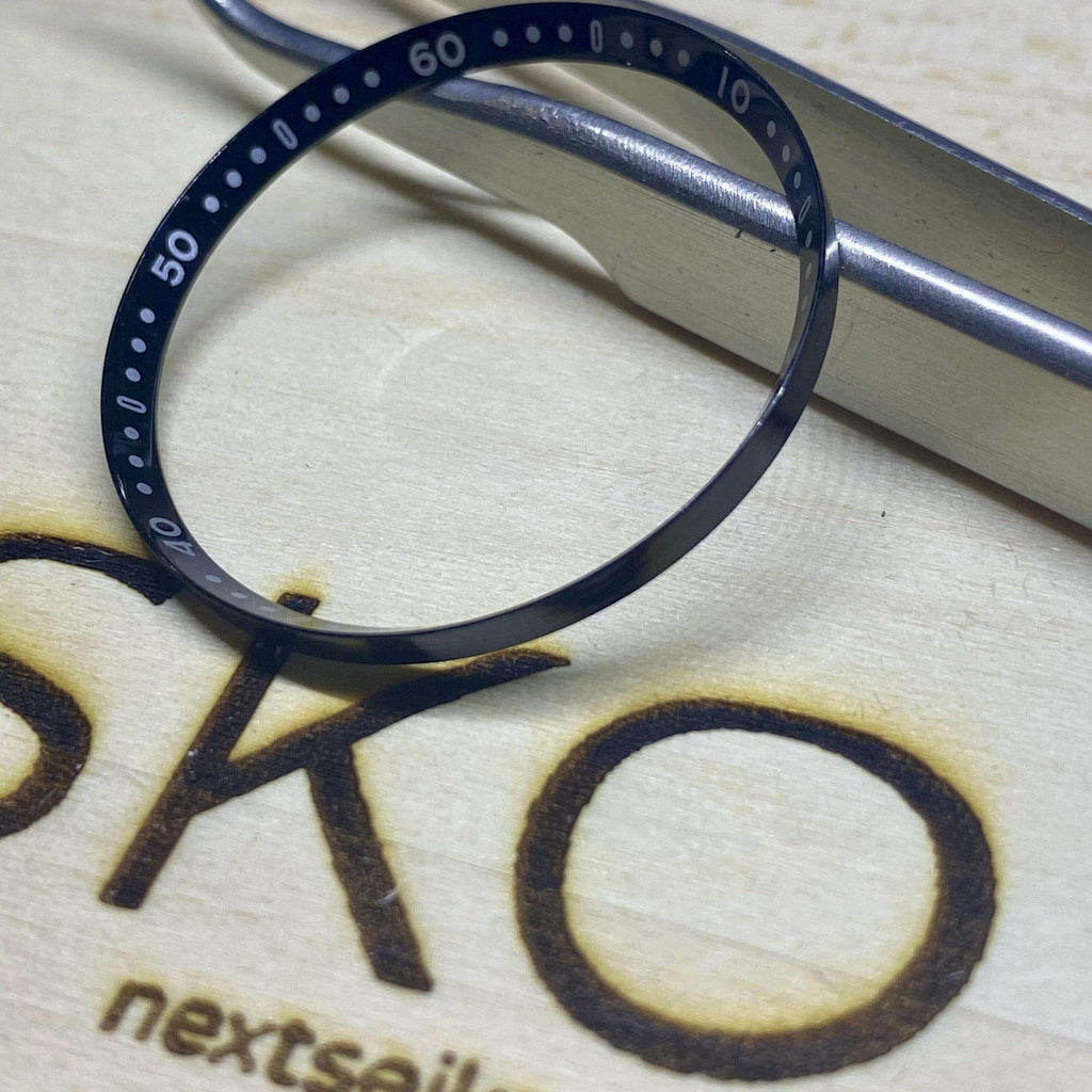 Parts Graduated Ring with 10 Minute Digits (Black) SKX007 Solid Steel Chapter Ring - Polished Finish nextseiko.com