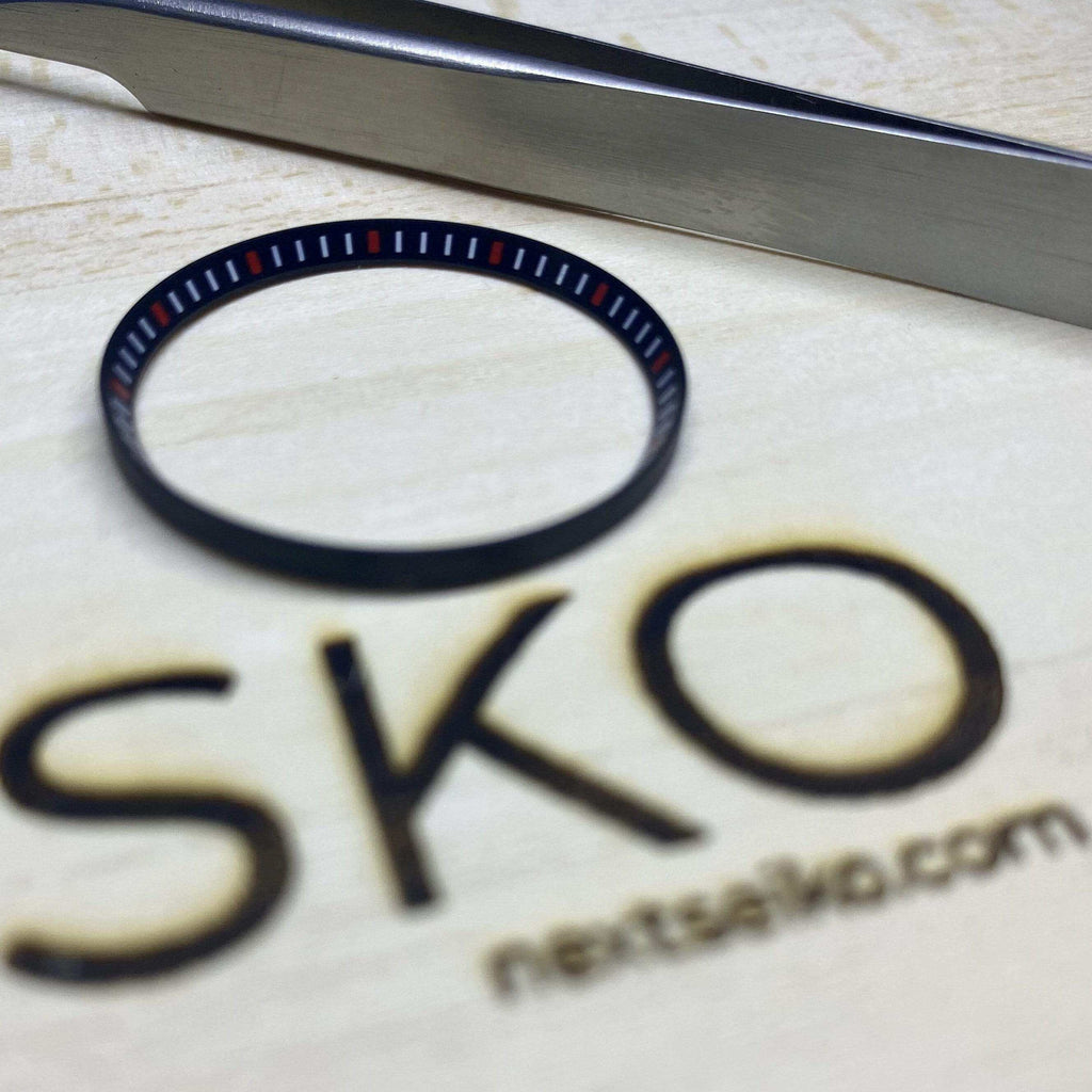 Parts Matte Black with Red and White Markers SKX007 Solid Steel Chapter Ring - Polished Finish nextseiko.com