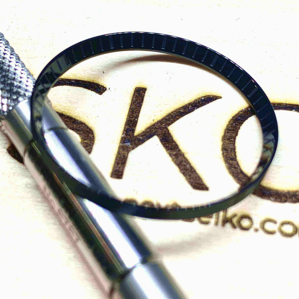 Parts Polished Black Laser Etched SKX007 Solid Steel Chapter Ring - Polished Finish nextseiko.com
