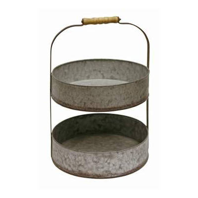 Galvanized two tier tray with handle