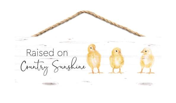 Raised on country sunshine: hanging sign