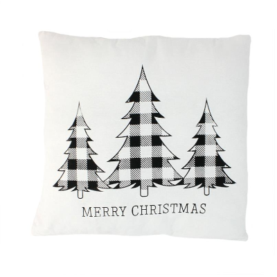 Merry Christmas Plaid Pillow