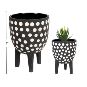 Footed Ceramic Planter Polka Dot