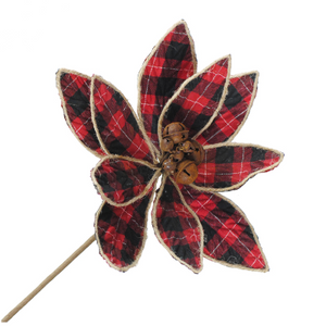 Red Plaid Poinsettia Pick
