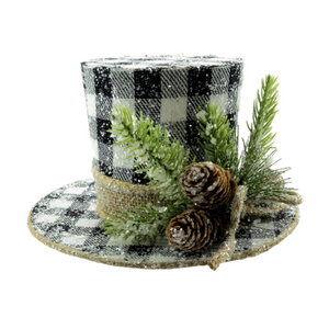 Frosted Top Hat Black & White Plaid