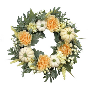 Wreath with White Pumpkins