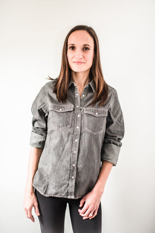Timeless Denim Chambray Snap Down