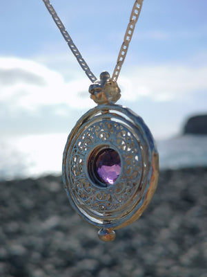Amethyst and Moissanite Silver Spinning Pendant