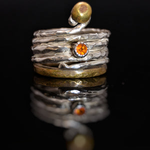 Citrine Silver and Brass Ring