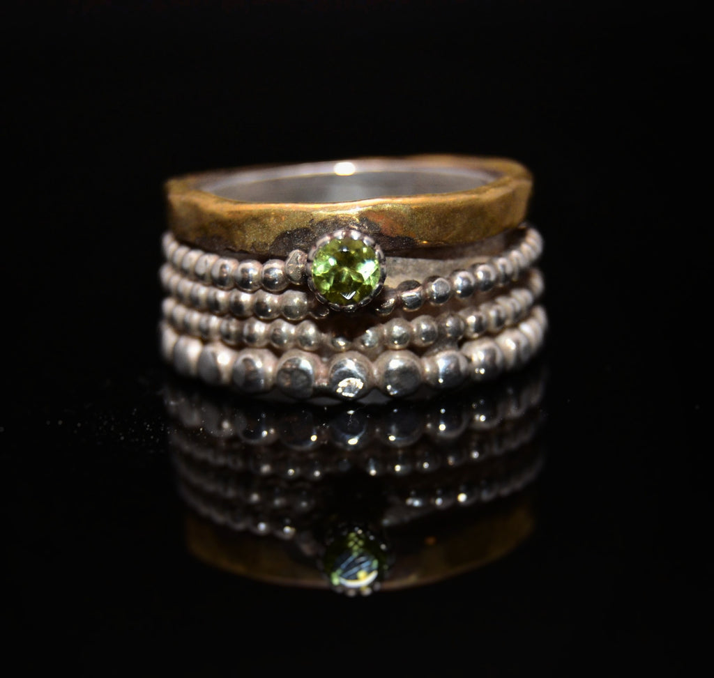 Olivine Silver and Brass Ring