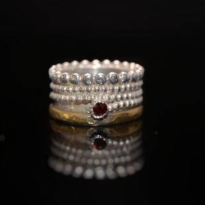 Garnet Silver and Brass Ring