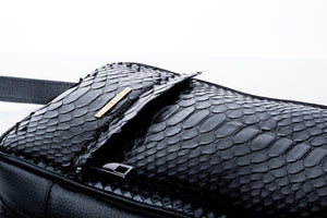 Black Python Messenger Bag