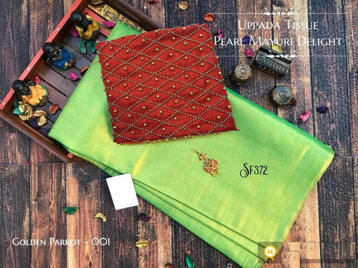 PURE Tissue SILK SAREE with Pearl Blouse(GoldenParrot_Red)